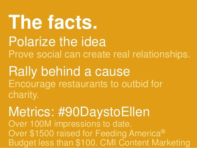 #H2H @bryankramer The facts. Polarize the idea Prove social can create real relationships. Rally behind a cause Encourage ...