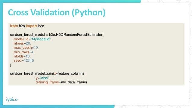 "Cross Validation (Python) from h2o import h2o random_forest_model = h2o.H2ORandomForestEstimator( model_id=""MyModelId"", nt..."