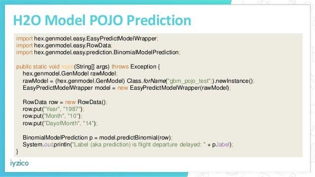 H2O Model POJO Prediction import hex.genmodel.easy.EasyPredictModelWrapper; import hex.genmodel.easy.RowData; import hex.g...