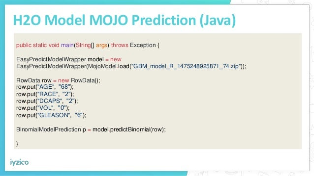 H2O Model MOJO Prediction (Java) public static void main(String[] args) throws Exception { EasyPredictModelWrapper model =...