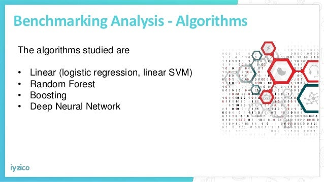 Benchmarking Analysis - Algorithms The algorithms studied are • Linear (logistic regression, linear SVM) • Random Forest •...