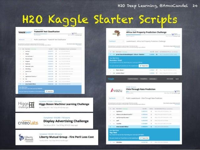 H2O Deep Learning, @ArnoCandel  H2O Kaggle Starter Scripts  24