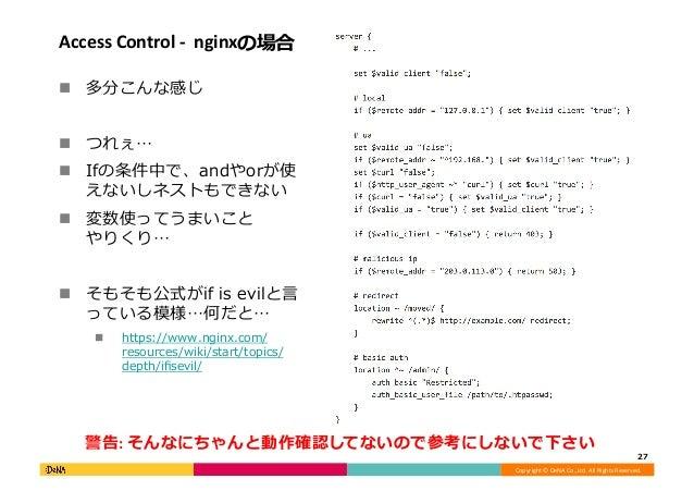 Copyright©DeNACo.,Ltd.AllRightsReserved. AccessControl-nginxの場合 ! 多分こんな感じ ! つれぇ… ! Ifの条件中で、andやorが使 えないしネ...