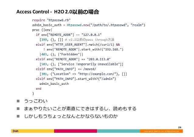 Copyright©DeNACo.,Ltd.AllRightsReserved. AccessControl-H2O2.0以前の場合 ! うっこわい ! まぁやりたいことが素直にできはするし、読めもする ! ...