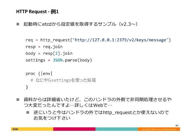 Copyright©DeNACo.,Ltd.AllRightsReserved. HTTPRequest-例1 ! 起動時にetcdから設定値を取得するサンプル(v2.3〜) ! 資料からは詳細省いたけど、このハンド...
