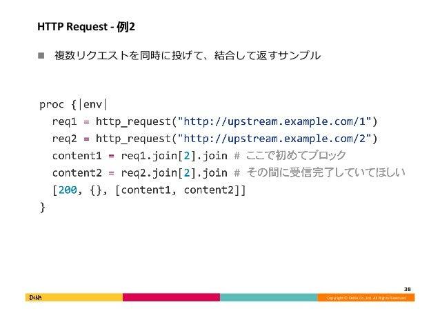 Copyright©DeNACo.,Ltd.AllRightsReserved. HTTPRequest-例2 ! 複数リクエストを同時に投げて、結合して返すサンプル 38