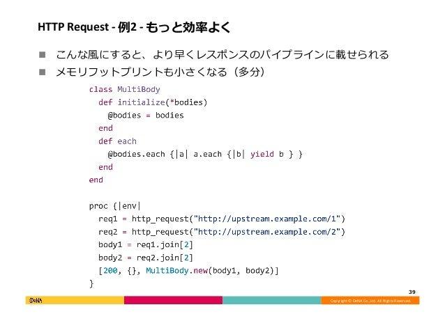 Copyright©DeNACo.,Ltd.AllRightsReserved. HTTPRequest-例2-もっと効率よく ! こんな⾵にすると、より早くレスポンスのパイプラインに載せられる ! メモリフット...