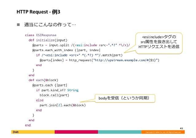 Copyright©DeNACo.,Ltd.AllRightsReserved. HTTPRequest-例3 ! 適当にこんなの作って… 41 <esi:include>タグの src属性を抜き出して HTTP...