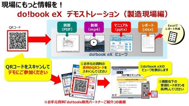 現場にもっと情報を! do!book eX デモストレーション(製造現場編) ▶ 動画 (mp4) マニュアル (pptx) 図面 (PDF) レポート (xlsx) do!book eX ビューワ Excelで レポート作成 QRコードをスキ...