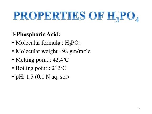 B E Project Manufacturing Of Phosphoric Acid
