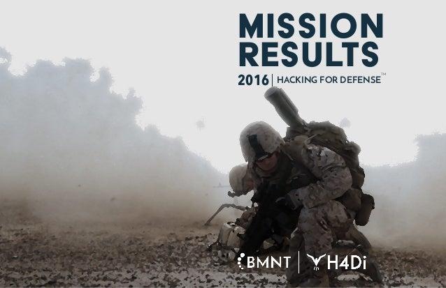 TM MISSION RESULTS2016 HACKING FOR DEFENSE