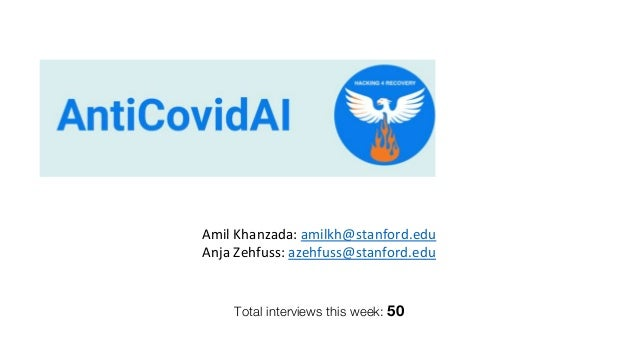 Total interviews this week: 50 Amil Khanzada: amilkh@stanford.edu Anja Zehfuss: azehfuss@stanford.edu