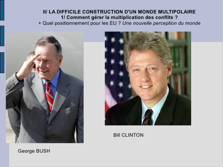 II/ LA DIFFICILE CONSTRUCTION D'UN MONDE MULTIPOLAIRE 1/ Comment gérer la multiplication des conflits ? + Quel positionnem...
