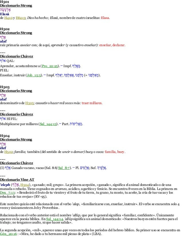 H501  Diccionario Strong  הָׂשָעֶלֶא  Elasá  de H410 y H6213; Dios ha hecho; Elasá, nombre de cuatro israelitas: Elasa.  H...