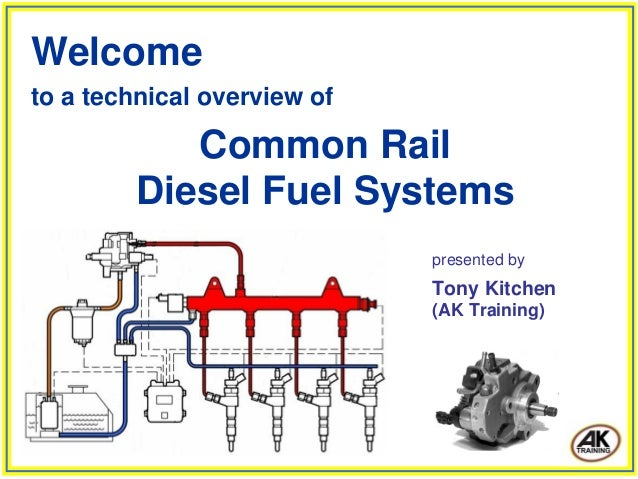 Welcome to a technical overview of Common Rail Diesel Fuel Systems presented by Tony Kitchen (AK Training)