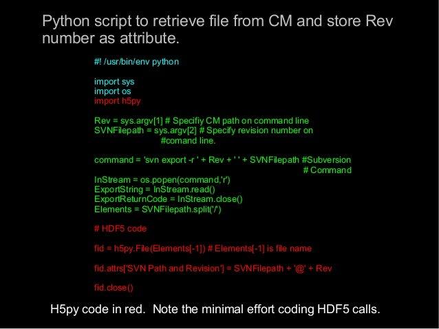 The Python Programming Language and HDF5: H5Py