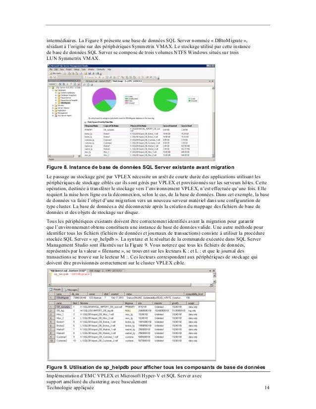 intermédiaires. La Figure 8 présente une base de données SQL Server nommée « DBtoMigrate », résidant à l'origine sur des p...