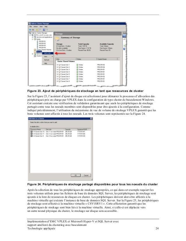 Figure 23. Ajout de périphériques de stockage en tant que ressources de cluster Sur la Figure 23, l'assistant d'ajout de d...