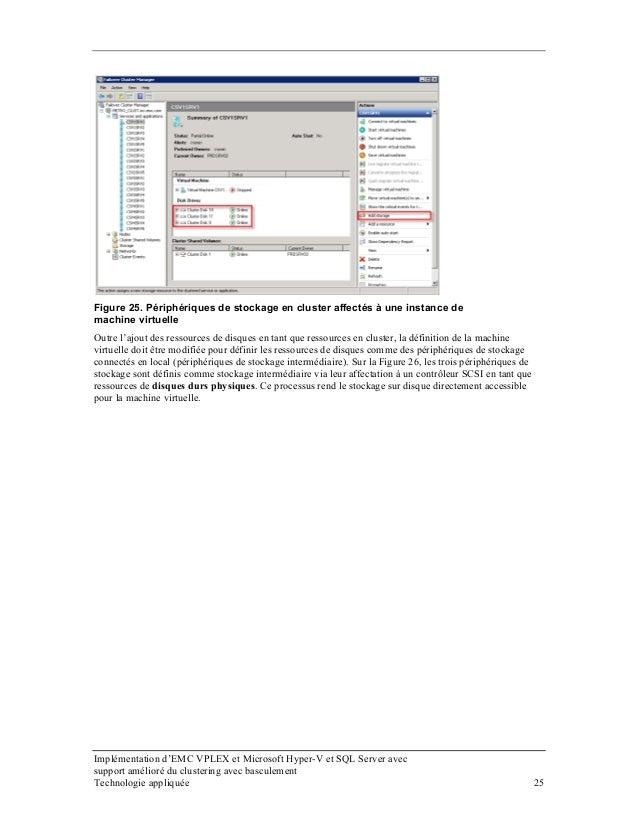 Figure 25. Périphériques de stockage en cluster affectés à une instance de machine virtuelle Outre l'ajout des ressources ...