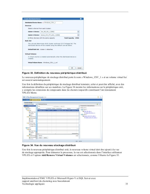 Figure 33. Définition du nouveau périphérique distribué Le nouveau périphérique de stockage distribué porte le nom « Windo...