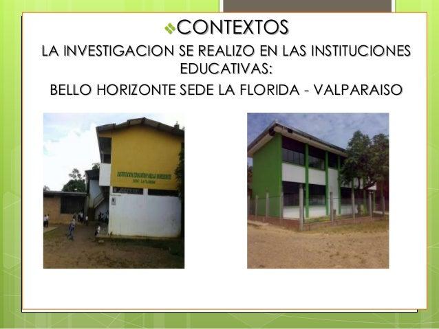 CONTEXTOS LA INVESTIGACION SE REALIZO EN LAS INSTITUCIONES EDUCATIVAS: BELLO HORIZONTE SEDE LA FLORIDA - VALPARAISO