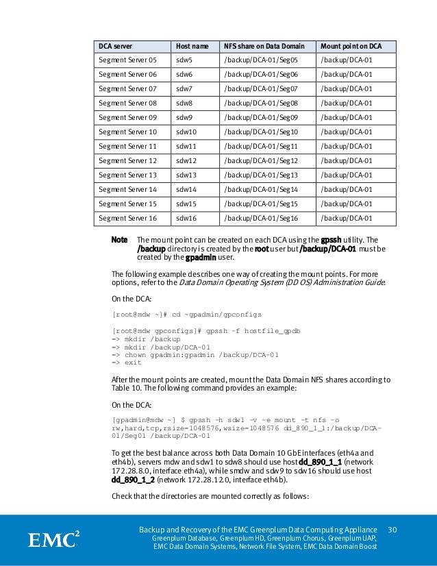DCA server              Host name     NFS share on Data Domain     Mount point on DCASegment Server 05       sdw5         ...