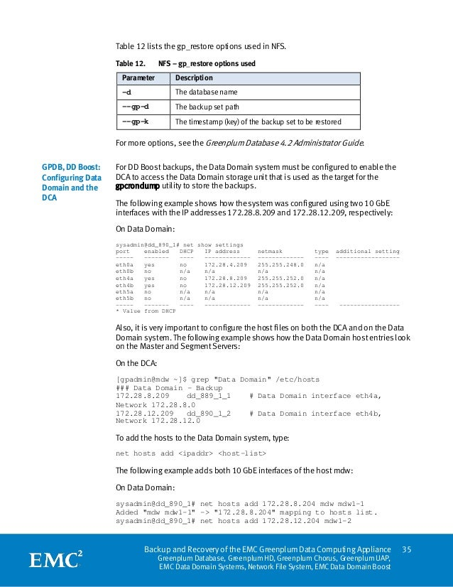 Table 12 lists the gp_restore options used in NFS.                   Table 12.     NFS – gp_restore options used          ...