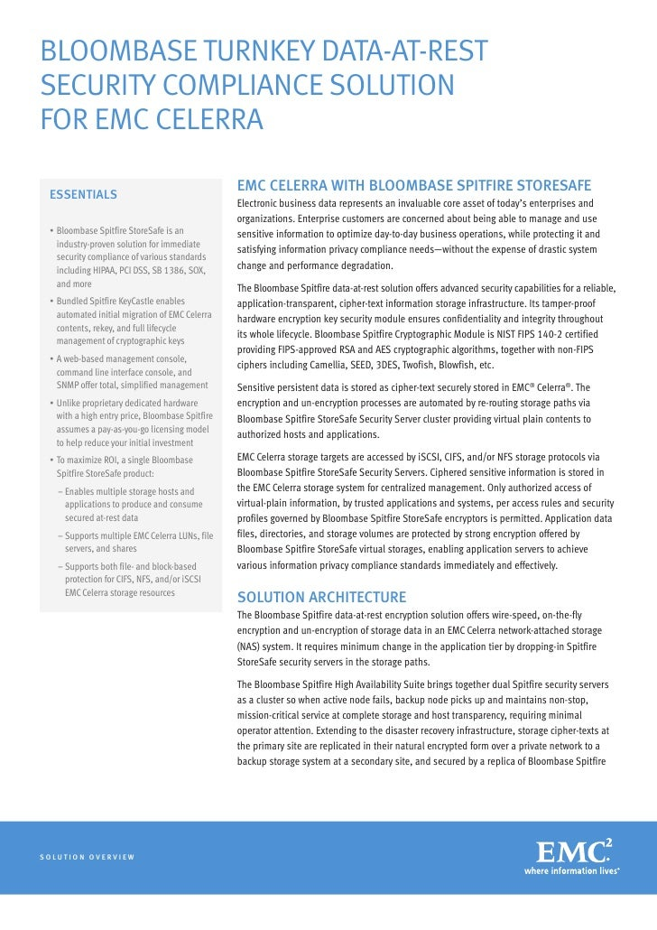 BLOOMBASE TURNKEY DATA-AT-RESTSECURITY COMPLIANCE SOLUTIONFOR EMC CELERRA                                                 ...
