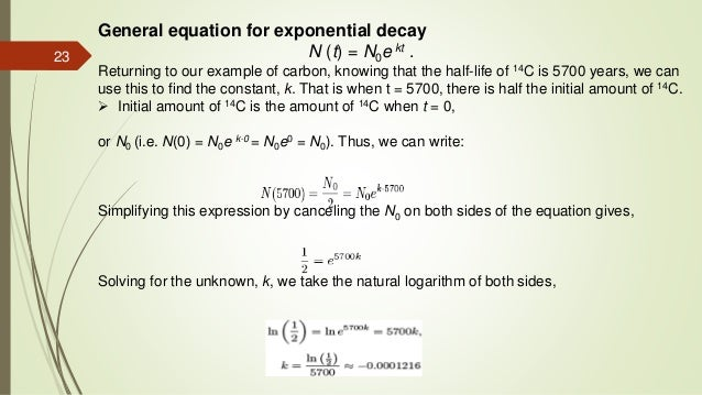 carbon dating exponential decay