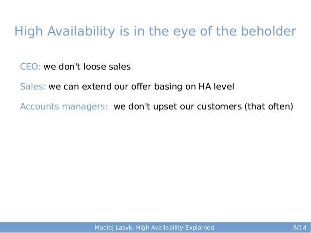 High Availability (HA) Explained - second edition