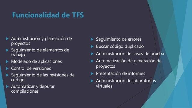 Funcionalidad de TFS   Administración y planeación de proyectos    Seguimiento de elementos de trabajo    Modelado de a...