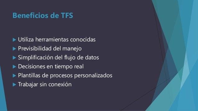 Beneficios de TFS   Utiliza herramientas conocidas    Previsibilidad del manejo    Simplificación del flujo de datos  ...
