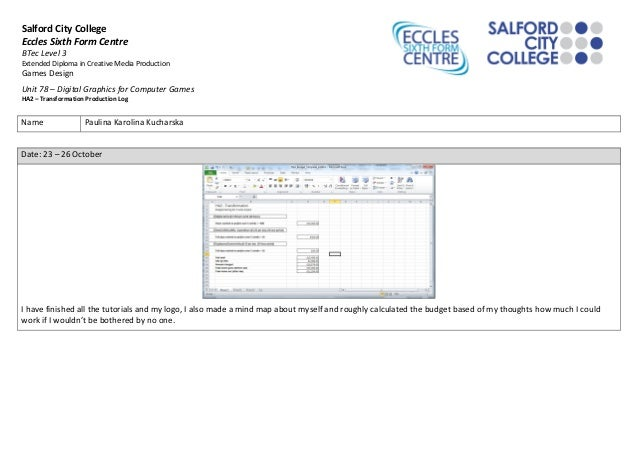 Salford City College  Eccles Sixth Form Centre  BTec Level 3  Extended Diploma in Creative Media Production  Games Design ...