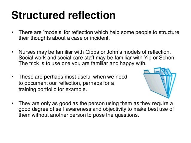 structured reflective template reflection on practice