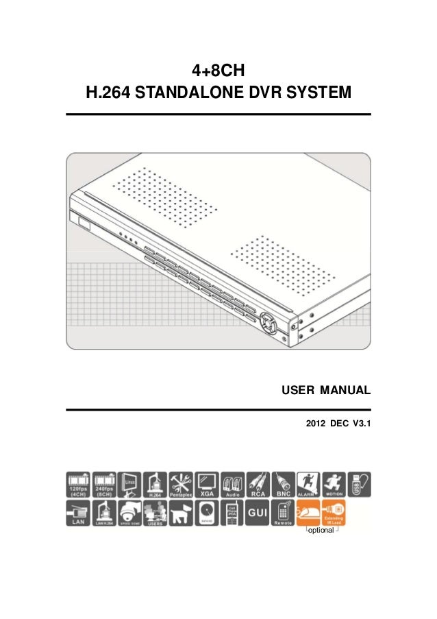 4+8CH H.264 STANDALONE DVR SYSTEM  USER MANUAL 2012 DEC V3.1  optional