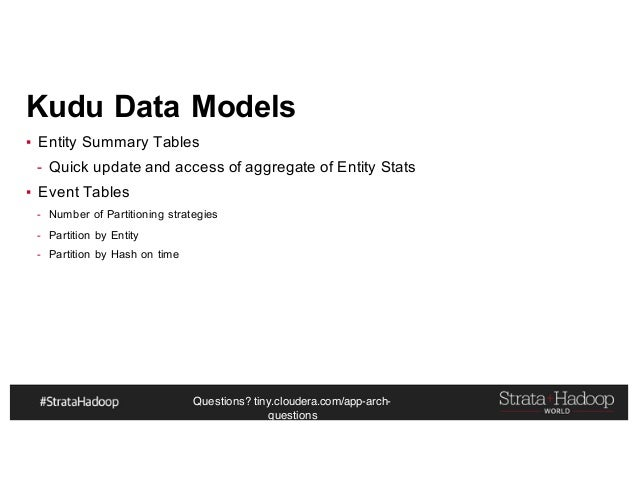 Questions? tiny.cloudera.com/app-arch- questions Kudu Data Models ▪ Entity Summary Tables - Quick update and access of agg...