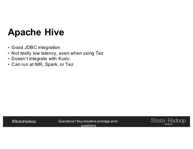 Questions? tiny.cloudera.com/app-arch- questions Apache Hive ▪ Good JDBC integration ▪ Not really low latency, even when u...