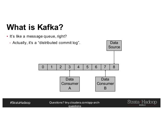 """Questions? tiny.cloudera.com/app-arch- questions What is Kafka? ▪ It's like a message queue, right? - Actually, it's a """"di..."""