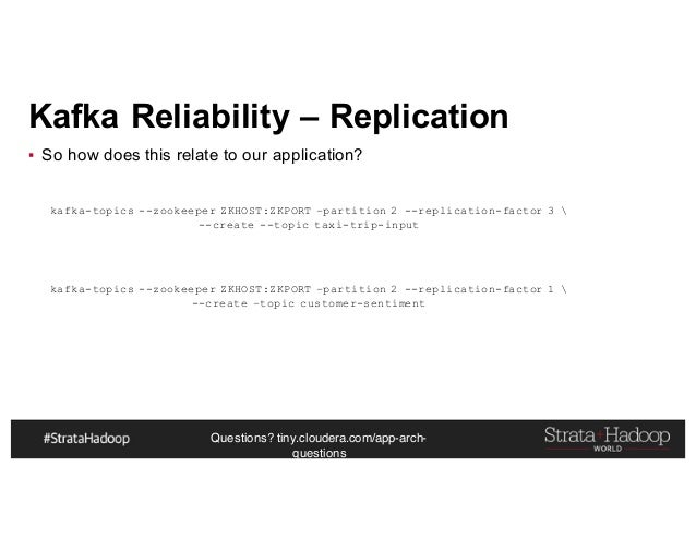 Questions? tiny.cloudera.com/app-arch- questions Kafka Reliability – Replication ▪ So how does this relate to our applicat...