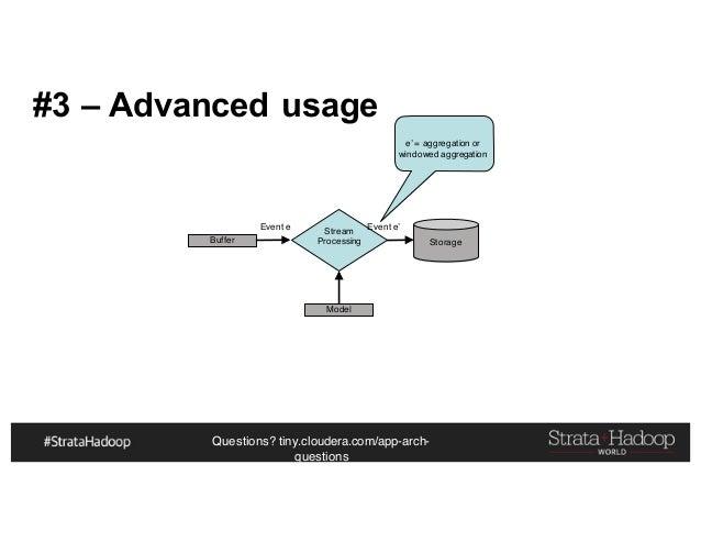Questions? tiny.cloudera.com/app-arch- questions #3 – Advanced usage Buffer Event e Stream Processing Storage Event e' e' ...