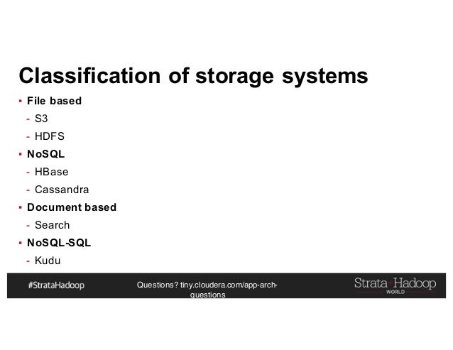Questions? tiny.cloudera.com/app-arch- questions Classification of storage systems ▪ File based - S3 - HDFS ▪ NoSQL - HBas...