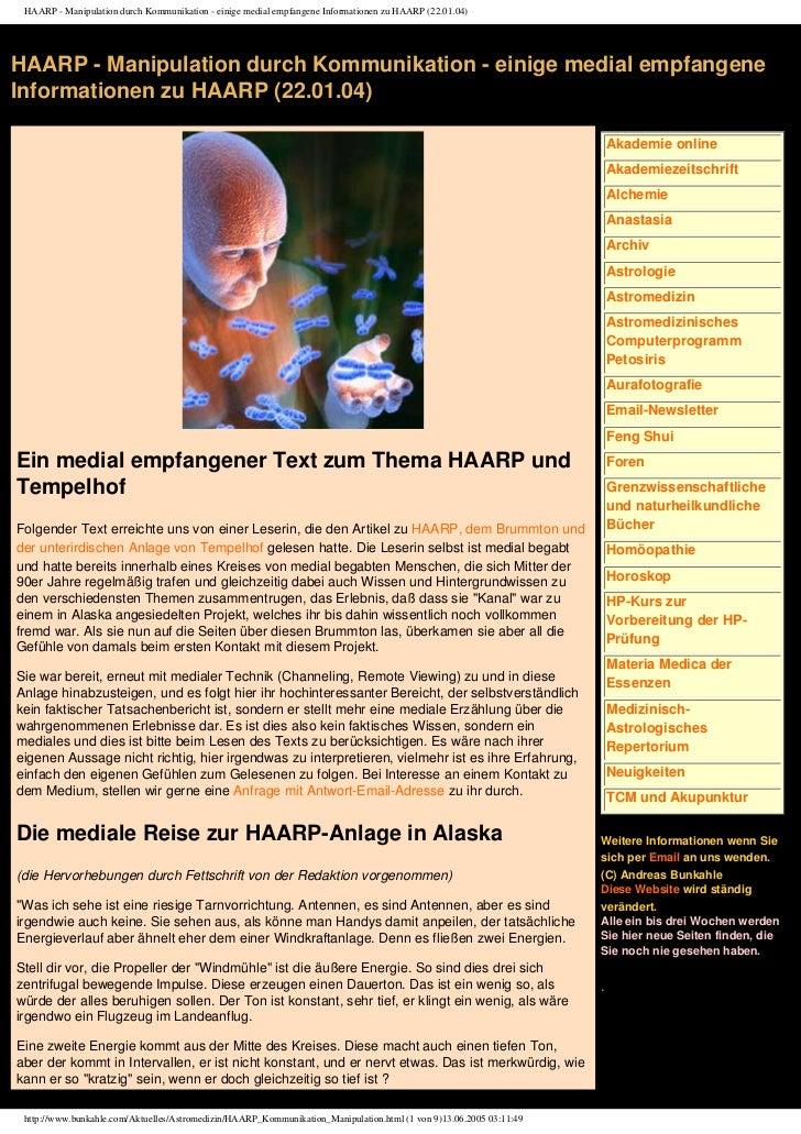 HAARP - Manipulation durch Kommunikation - einige medial empfangene Informationen zu HAARP (22.01.04)HAARP - Manipulation ...