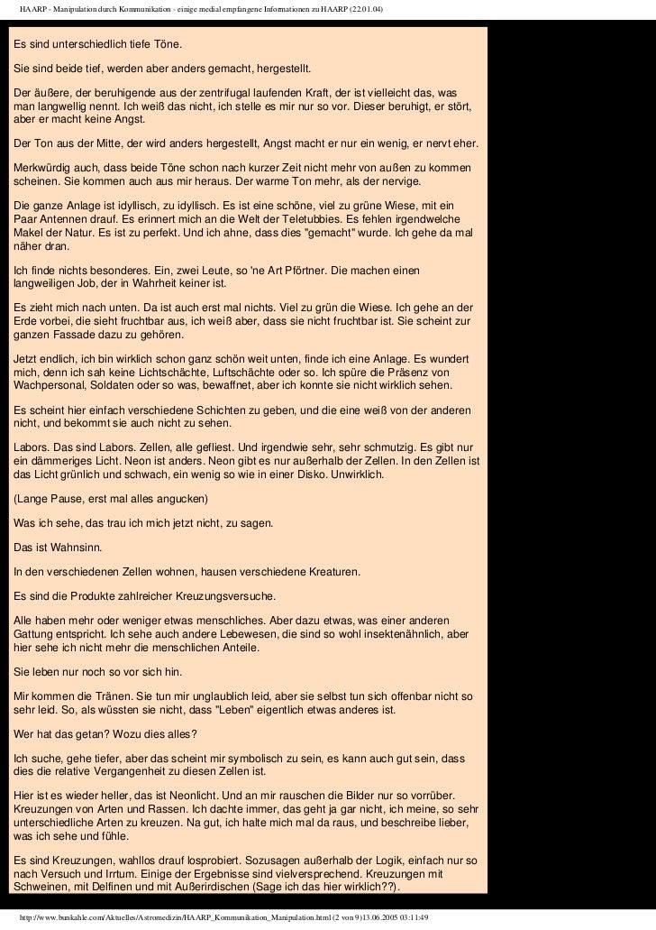 HAARP - Manipulation durch Kommunikation - einige medial empfangene Informationen zu HAARP (22.01.04)Es sind unterschiedli...