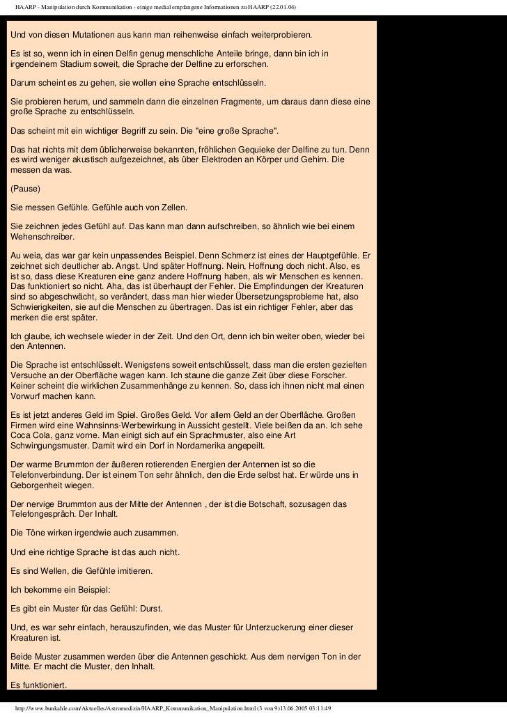 HAARP - Manipulation durch Kommunikation - einige medial empfangene Informationen zu HAARP (22.01.04)Und von diesen Mutati...