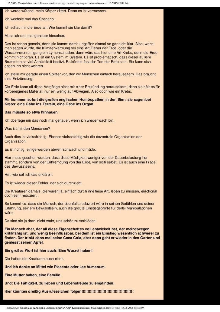 HAARP - Manipulation durch Kommunikation - einige medial empfangene Informationen zu HAARP (22.01.04)Ich werde wütend, mei...