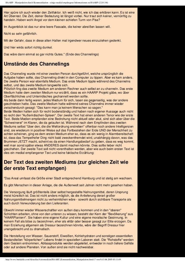 HAARP - Manipulation durch Kommunikation - einige medial empfangene Informationen zu HAARP (22.01.04)Hier spüre ich auch w...