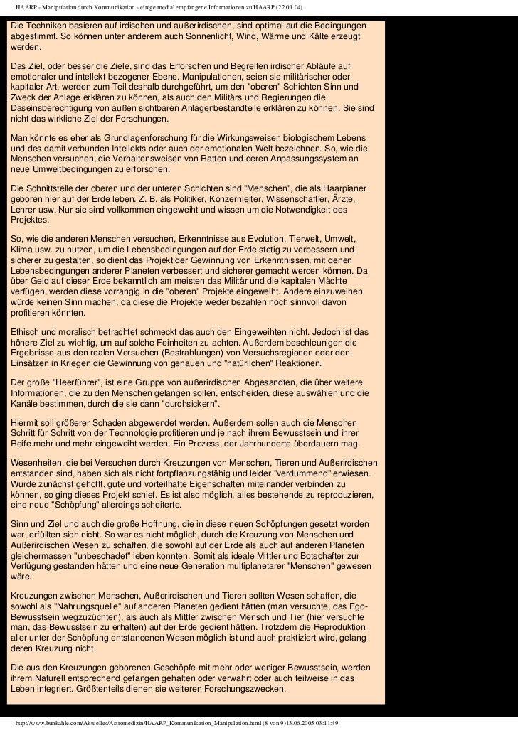 HAARP - Manipulation durch Kommunikation - einige medial empfangene Informationen zu HAARP (22.01.04)Die Techniken basiere...