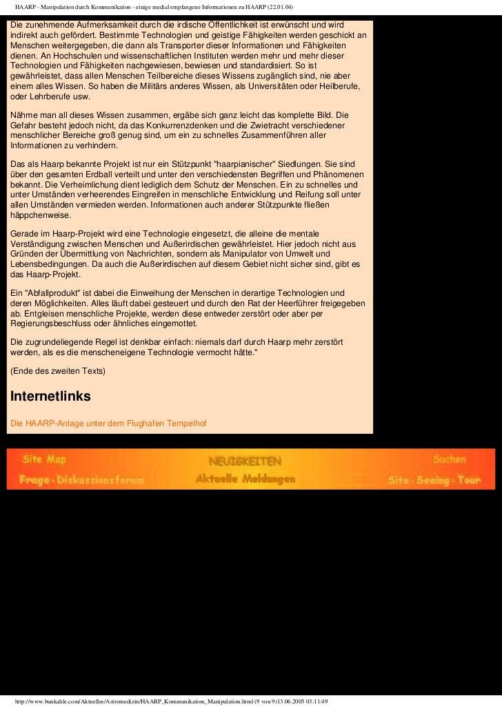 HAARP - Manipulation durch Kommunikation - einige medial empfangene Informationen zu HAARP (22.01.04)Die zunehmende Aufmer...