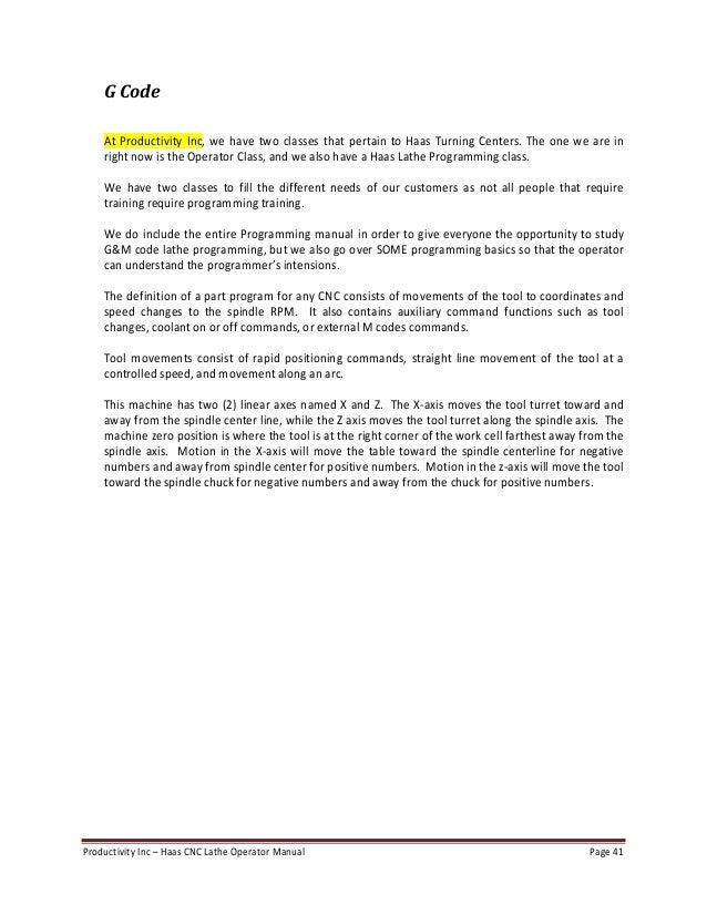 Haas lathe operator manual