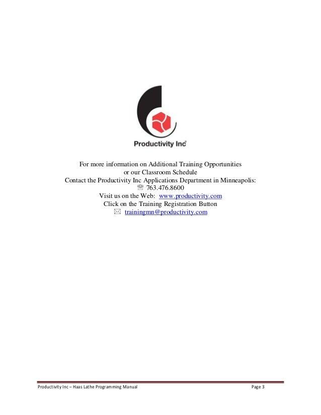 Haas lathe programming manual